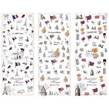 3 упаковки/партия, Статуя Свободы с национальным флагом США, Великобритании, Франции, тату для ногтей, наклейка на воду, HOT277-279 для дизайна ногтей