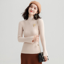 Winter women pullovers and sweaters Flare Sleeve Knitting Pullover Korean slim thin half turtleneck sweater for c206