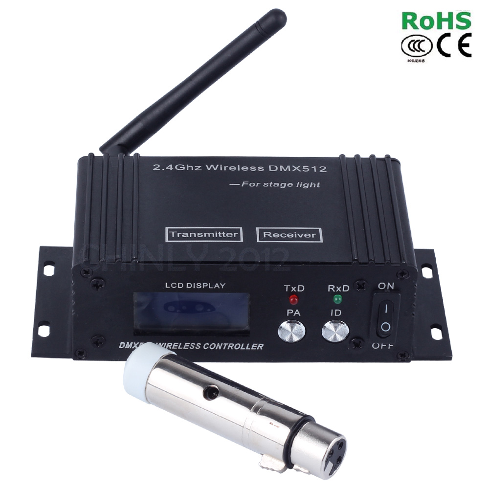 2.4G ISM DMX512 Wireless Receiver & Transmitter LED Lighting for Stage PAR Party Light 400m control 1pc receiver china airmail freeshipping 2 4g wireless dmx512 signal controller 1x dmx 512 wireless receiver for stage light