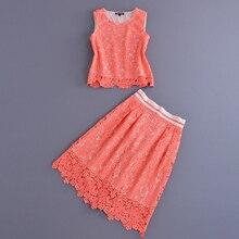 Brand Twinset 2016 Summer Uk Style Sleeveless Hot Sale  Hollow ShortTops + Designer Package Hip Knee Length Skirt Women Suits