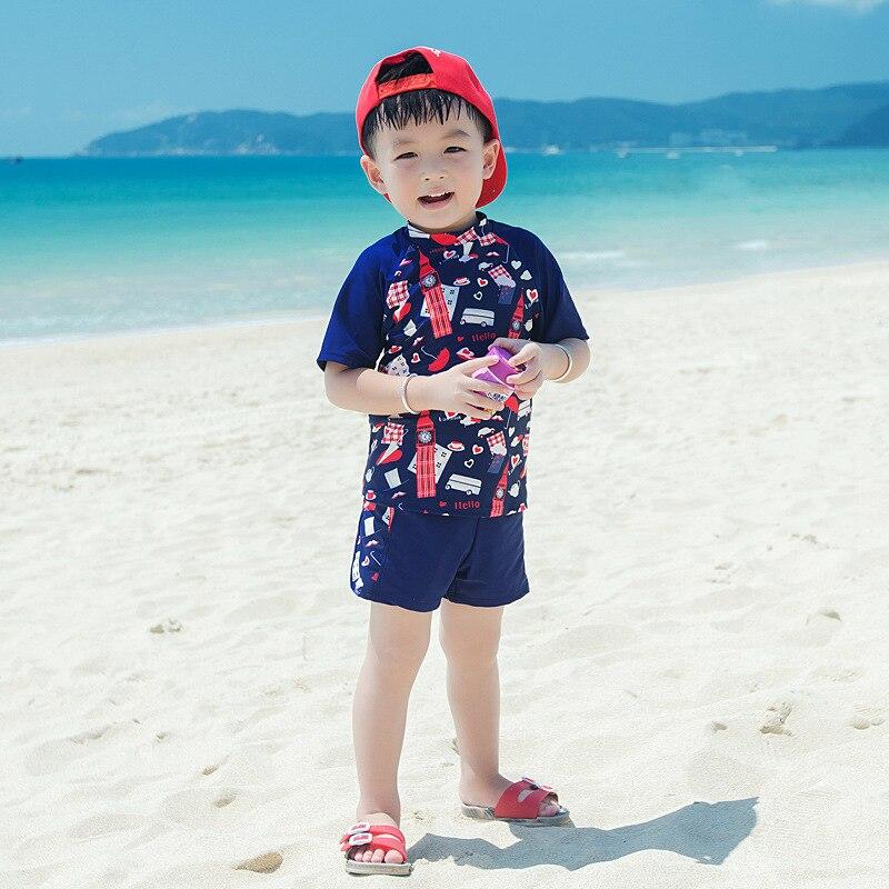 2018 Baby Boys Swimsuits with Shorts 3pcs Children Swimwear UV Prodection UPF50+ Short Sleeve Shirt+trunks+hat Rush Guard