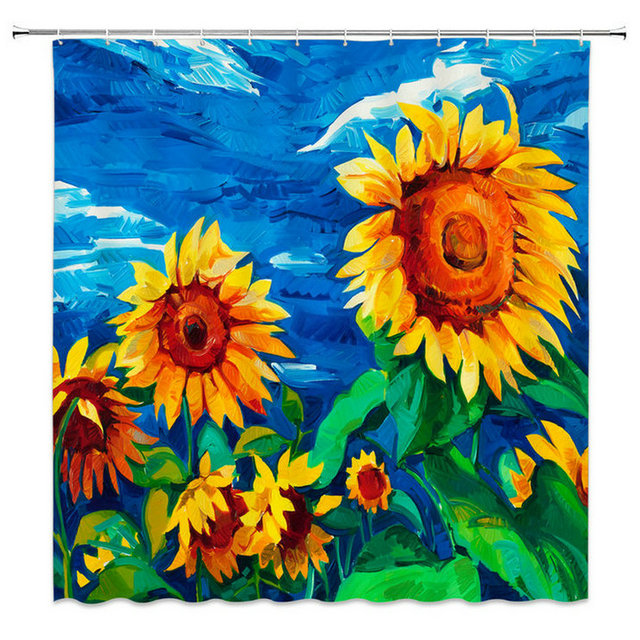 Sunflower Shower Curtain Blue Yellow Green Landscape Oil Painting Beautiful Artist Home Supplies Environment Polyester Fabric