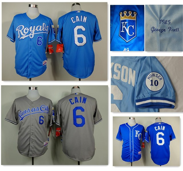 info for 8bfc1 c6e61 New Kansas City Royals Jersey 2015 Authentic Stitched#6 Lorenzo Cain Jersey  KC Royals Baseball Jersey Embroidery-in Baseball Jerseys from Sports & ...