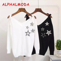 ALPHALMODA 2017 Autumn Diamond Star Sweater Lace Up Shoulder V-neck Women Pullovers Bottom Sweater Heavy Work Crystal Jumpers