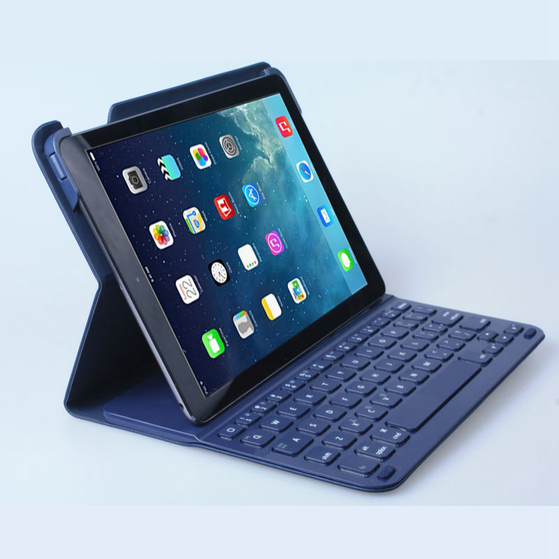 low priced 699da 4eedf US $44.4  For iPad Air/Air 2 Ultrathin Logitech Style Wireless Bluetooth  Russian/Spanish/Hebrew Keyboard Folio Protective Case Cover Stand-in  Tablets ...