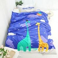 YeeKin Sevimli Zürafalar Baskı Çocuklar Nevresim Takımları 3 ADET Hiçbir yorgan 100% Pamuk Yumuşak Zürafa Yatak Setleri Için Boy zürafa çarşaflar