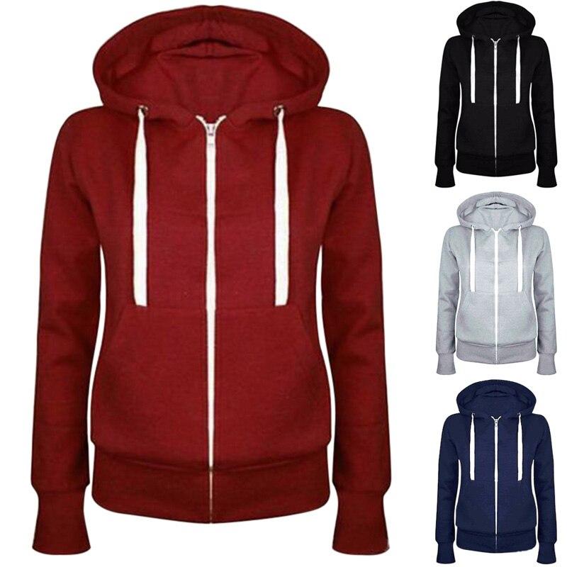 New Fashion Women Solid Zip Up Hoodies Long Sleeve Autumn Winter Women's Clothing Coat Parkas LB