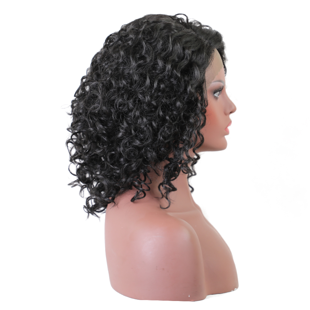 Element Glueless Side Part Kort Curly Afro L Parti Swiss Synthic Lace - Syntetiskt hår - Foto 3