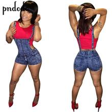 Pndodo Denim Playsuit New Fashion 2017 Summer Rompers Sexy Women Denim Jumpsuit Novelty Bodycon Playsuit Overalls Clubwear
