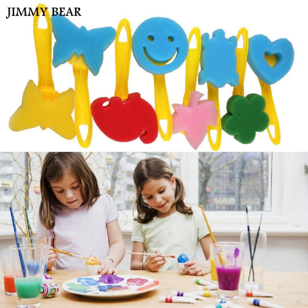 JIMMY BEAR 12 Pcs/Set Sponge Brushes Plastic Handle Children Painting Graffiti Gifts