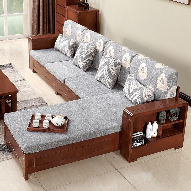 Мебель для гостиной современной деревянной простой диван, журнальный столик сочетание ...