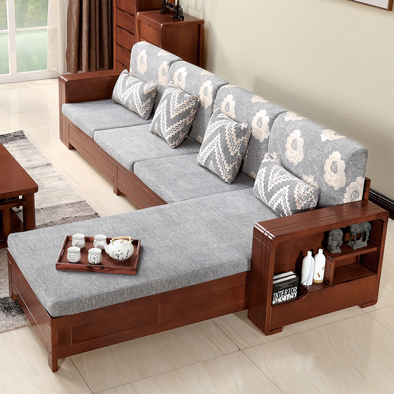 Furniture living room modern Solid wood Simple sofa coffee ...
