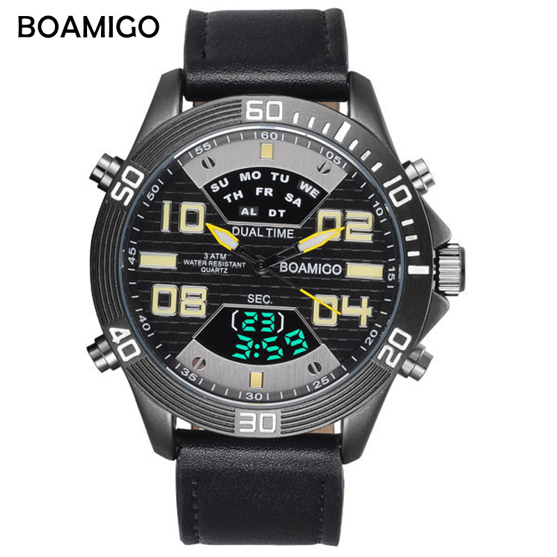 2018 Men Quartz Digital Watch Men Sports Watches Relogio Masculino BOAMIGO S Shock Relojes LED Military Waterproof Wristwatches