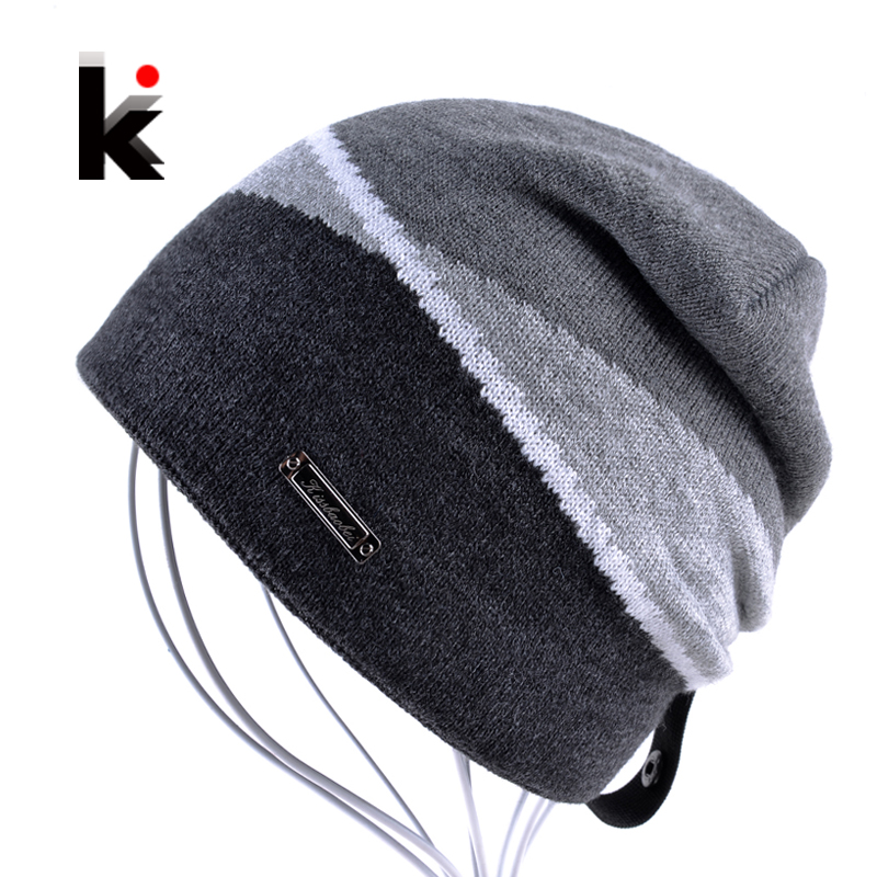 Winter Men's Skullies Gorro Brand Beanie Plus Velvet Hip-hop Hat Knitted Caps Boy Hats Beanies For Men Bonnet Touca Inverno