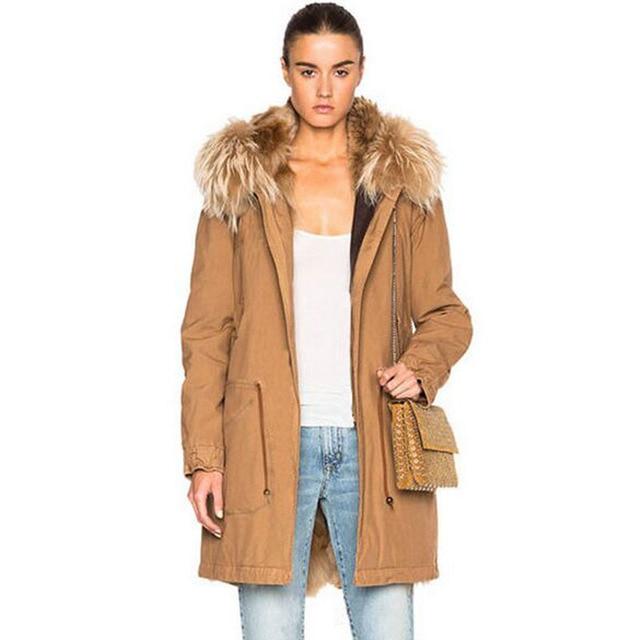 Large Real Natural Raccoon Fur 2018 Top Quality Winter Jacket Women New Women Brand Parkas Liner Faux Fur Super Warm Loose Coat