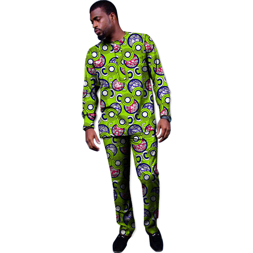 Африканская Одежда Устанавливает Новый Дизайн Мужчины Топы + Брюки Набор Мода Печати Ткань Танец Праздничный Костюм Африка Одежда Индивидуальные