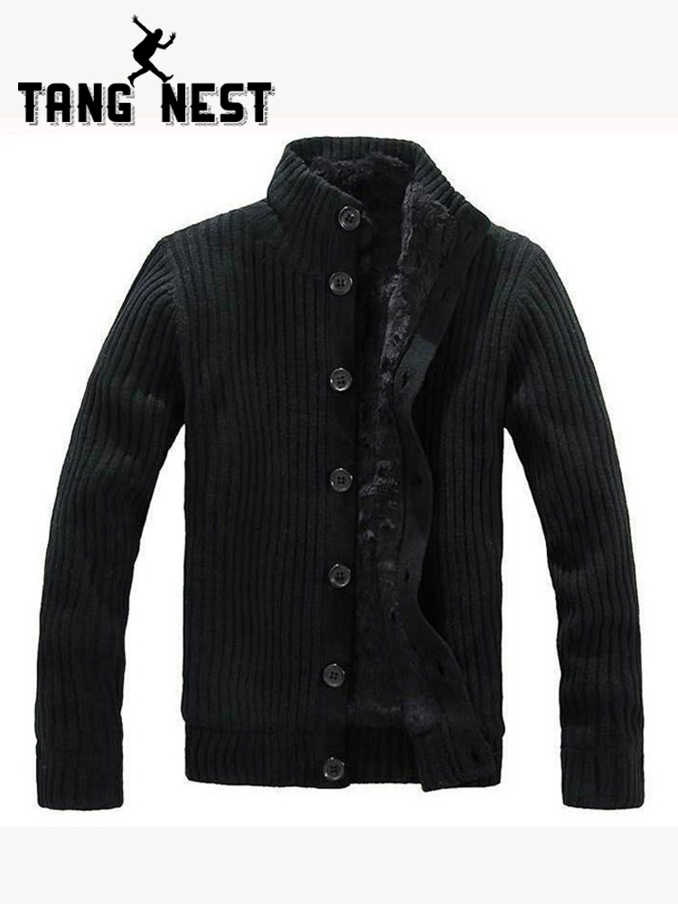 TANGNEST 2019 New Thick Men Warm Sweater Cardigan With Fur Good Quality Popular Soft Sweater Men Functional Comfortable MWK022