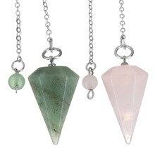 YYW Fashion Tiger Eye Reiki Pendulum Natural Stone Amulet Healing Crystal Pendant Meditation Hexagonal Pendulums For Men Women