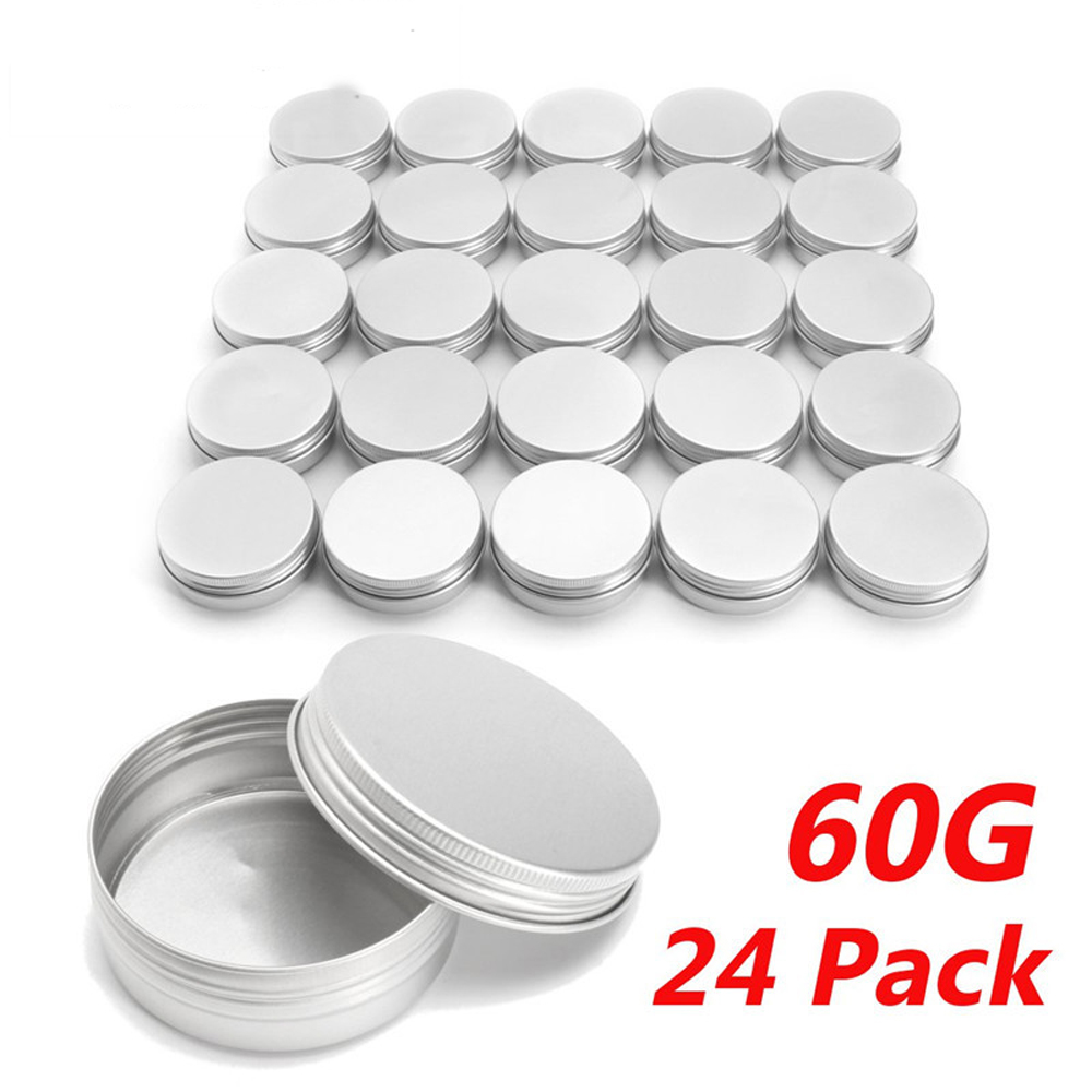 24pcs 60g Empty Aluminium Cosmetic Container Balm Silver Metal Jar Can Tin For Ointment Hand Cream Nail Gel Powder Makeup Tools