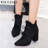 Ladies Black Suede Boots Zapatillas Mujer Casual Shoes Woman Ankle Boots For Women High Heel Boots