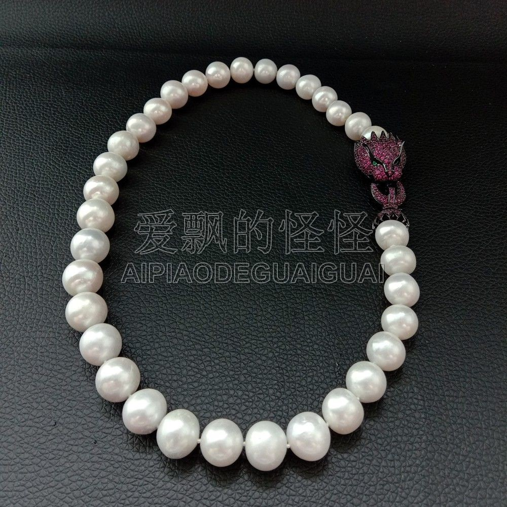 все цены на N071305 12MM Big Natural AA White Round Pearl Necklace Choker Necklace
