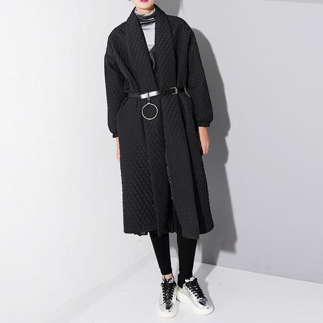 [TWOTWINSTYLE] 2017 Зима Большой черный Свободные Длинные Случайные Пальто Для Женщин Новый Уличная Clothing