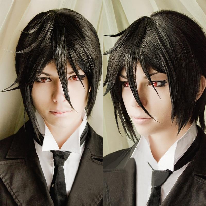Wig Short Cosplay-Costume Track Black Butler Anime Sebastian Michaelis Kuroshitsuji Wig-Cap