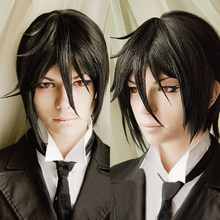 Top Quality Kuroshitsuji Black Butler Sebastian Michaelis Short Black Heat Resistant Anime Cosplay Costume Wig + Track + Wig Cap(China)