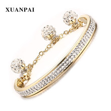 XUANPAI Gold color Women Cuff Bangle Bracelet Full Crystal Beads Charm Stainless Steel Female Bracelet Jewelry(China)