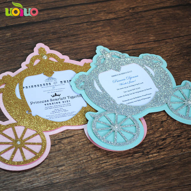 Online Shop Glitter Lovely Laser Cut Simple Unique Carriage Baby Kid Birthday Invitation Cards Christening Custom Printing