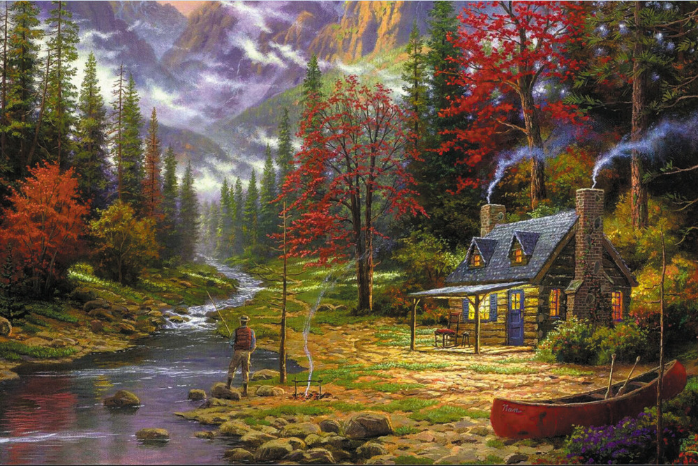 Omaž ribolovcu i ribolovu - Page 11 Free-shipping-Thomas-kinkade-River-house-fish-woods-Poster-HD-HOME-WALL-Decor-Custom-ART-PRINT