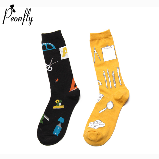 PEONFLY Fashion Math Stationery Pattern Men Cotton happy Socks Calculator Harajuku Novelty Funny Design Black Yellow Male Socks
