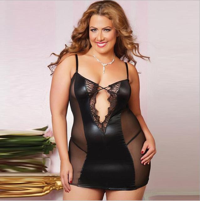 Alta calidad atractiva Sale gran ventaja mujer modelos de lencería Sexy leather lace stitching Sexy translúcido pijamas divertidos