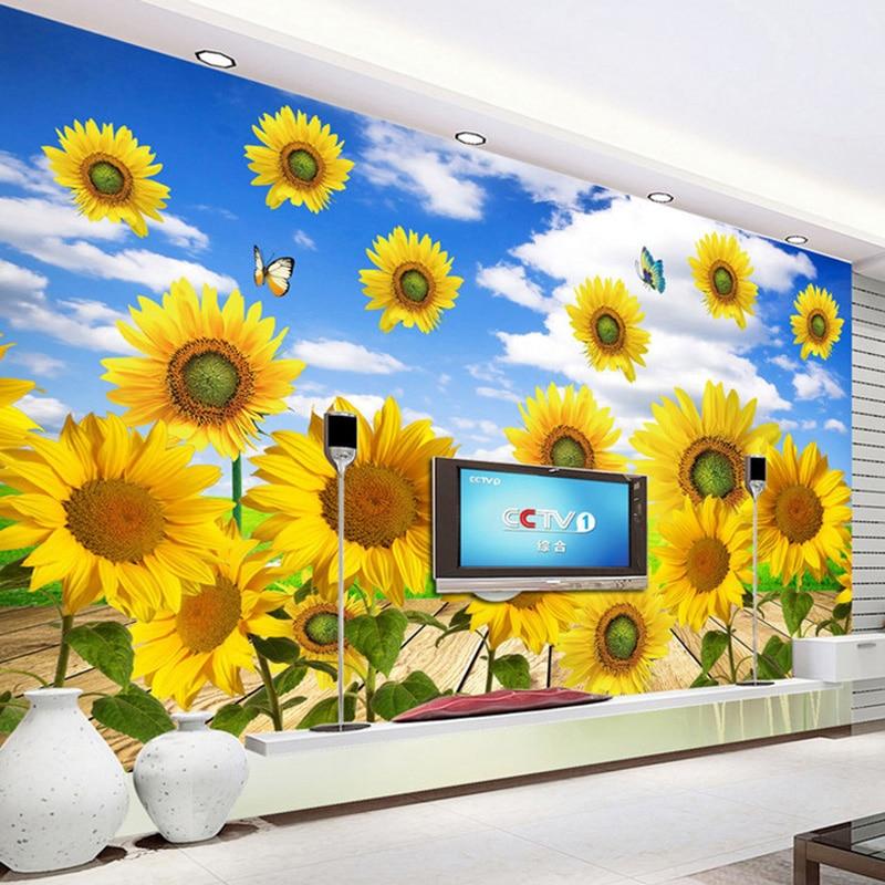 Photo Wallpaper Modern Fresh Sunflowers Nature Scenery Mural Wallpaper Living Room TV Sofa Background Wall Home Decor 3D Fresco