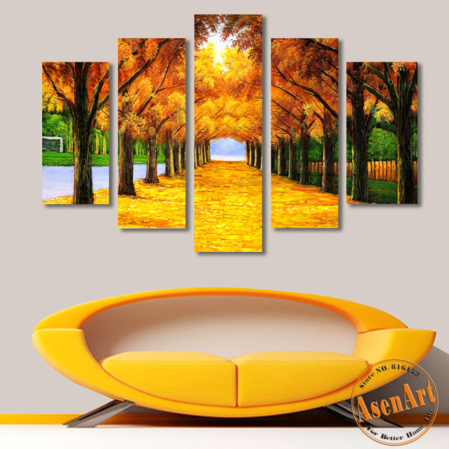 Gold Maple Tree Painting 5 Pieces Canvas Printing Modern Wall Art ...