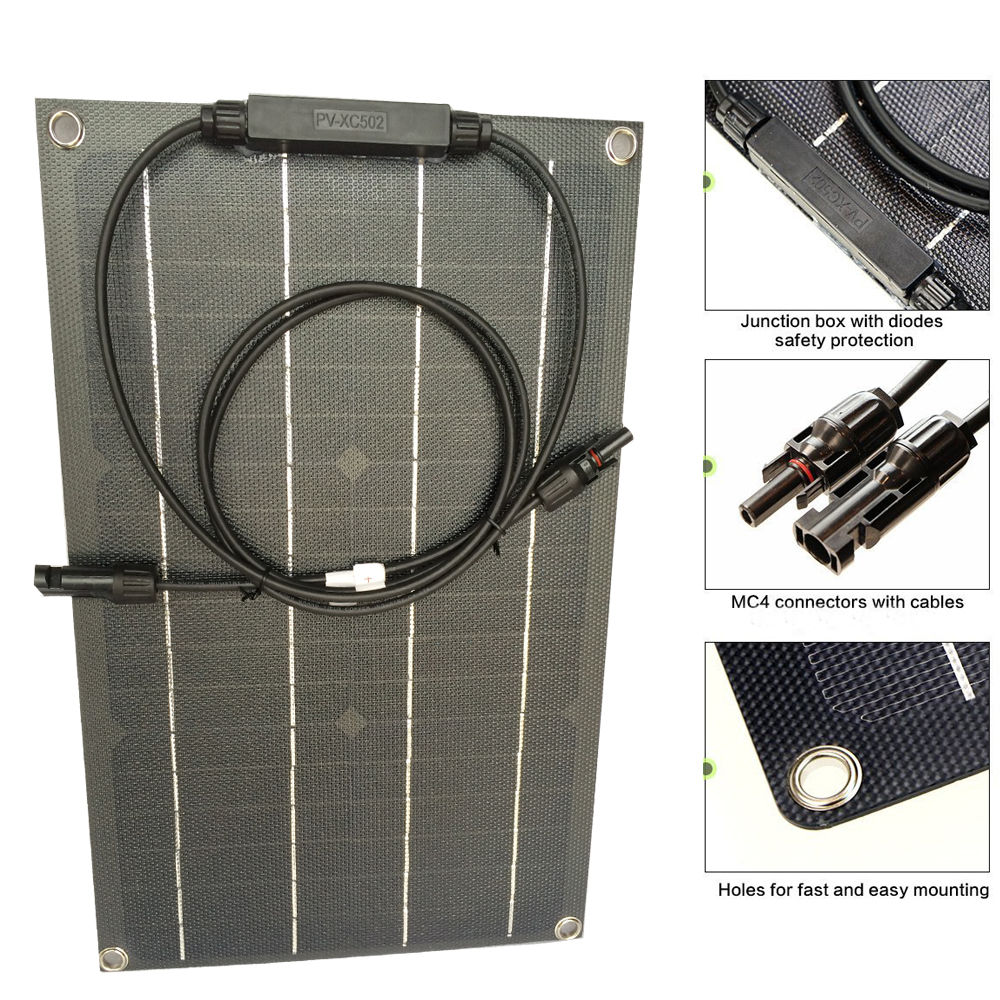 1pcs Solar Panel 20W ETFE Coating Layer Flexible Solar Panel 20W 18V Mono for Caravan Home Off Gird 12V Battery Charging Power image