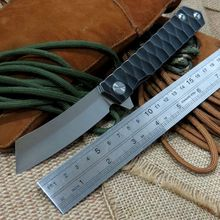 High Quality Selling Bearing folding knife blade knife D2 steel 58-60HRC tanto point blade TC4 titanium alloy handle knife