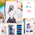 for Thl T11 PU Leather Case Butterfly Eiffel Tower Owl Cat kiss fish Girl Flag Pattern Phone Cover Case for THL T11