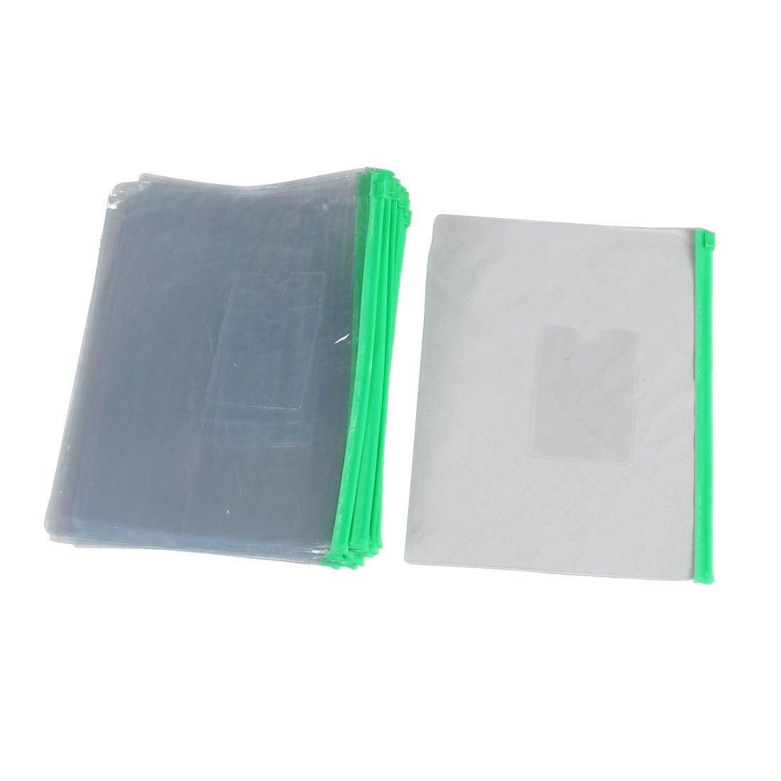 SOSW-20 Pcs Green Clear Size A5 Paper Slider Ziplock Closure Files Bags