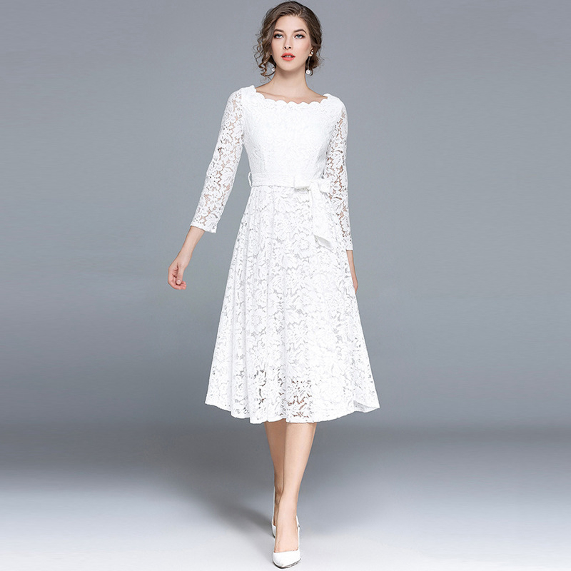 ec9b19514db37 White black long sleeve scoop neck midi crochet lace dresses for women  ladies tied high waist A-line tea length formal dresses