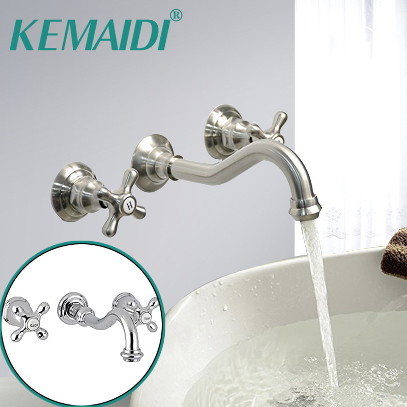 KEMAIDI 3 PCS Wall Mounted Widespread Basin Mixer Tap Two handles Three Holes Solid Brass Bathroom Sink Faucet Brushed Nickel ремни diesel x04720 p1005 t6083