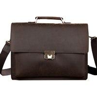 Classic Vintage Genuine Leather Business Briefcase Men's Handbag Messenger Bags 14 inch Laptop Computer Shoulder Bag