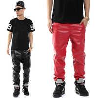 Fashion Brand pantalones hombre Casual Hip Hop personality Faux Leather harem Trousers slim skinny pants men