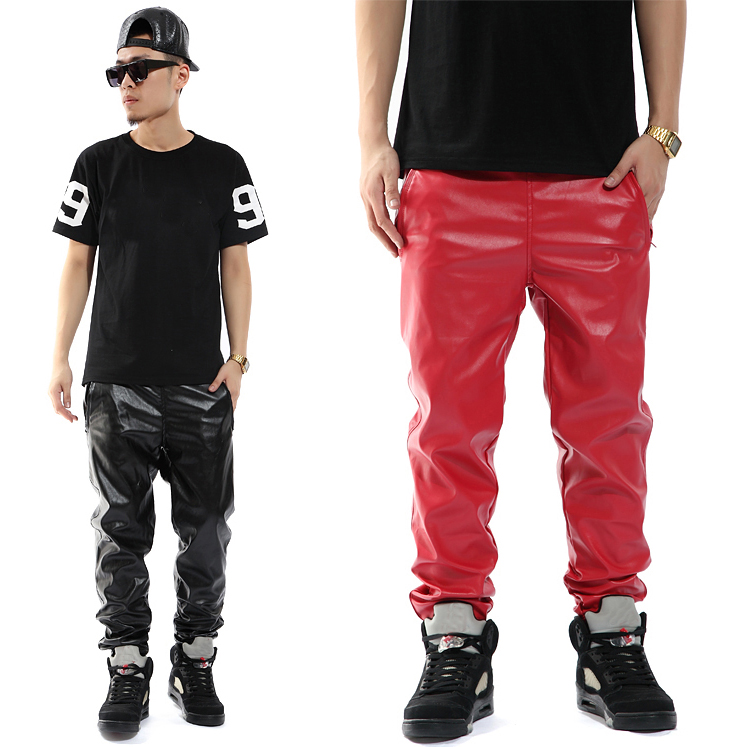 Fashion Brand pantalones hombre Casual Hip Hop personality Faux Leather harem Trousers slim skinny pants men