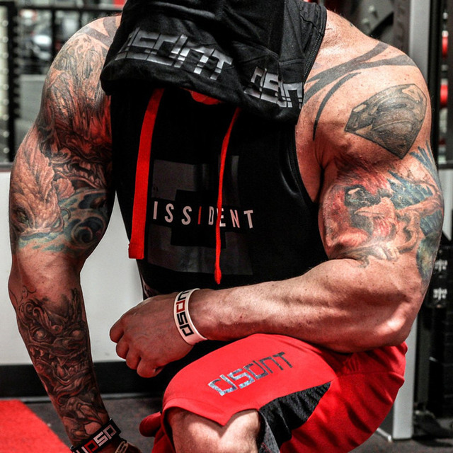Bodybuilding Stringer Tank Top with hooded Mens Gyms Clothing Fitness Mens Sleeveless Vests Cotton Singlets Muscle Sports vest 4
