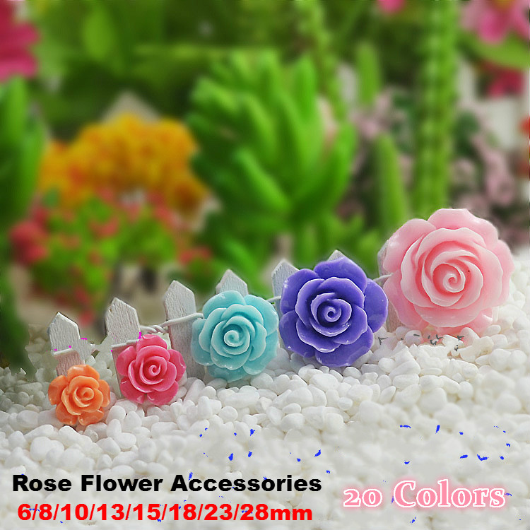 20 Colors Resin Rose Flower Flatback 6/8/10/13/15mm Diy Phone Case Kit Connectors Earrings Necklace Jewelry Making Accessories