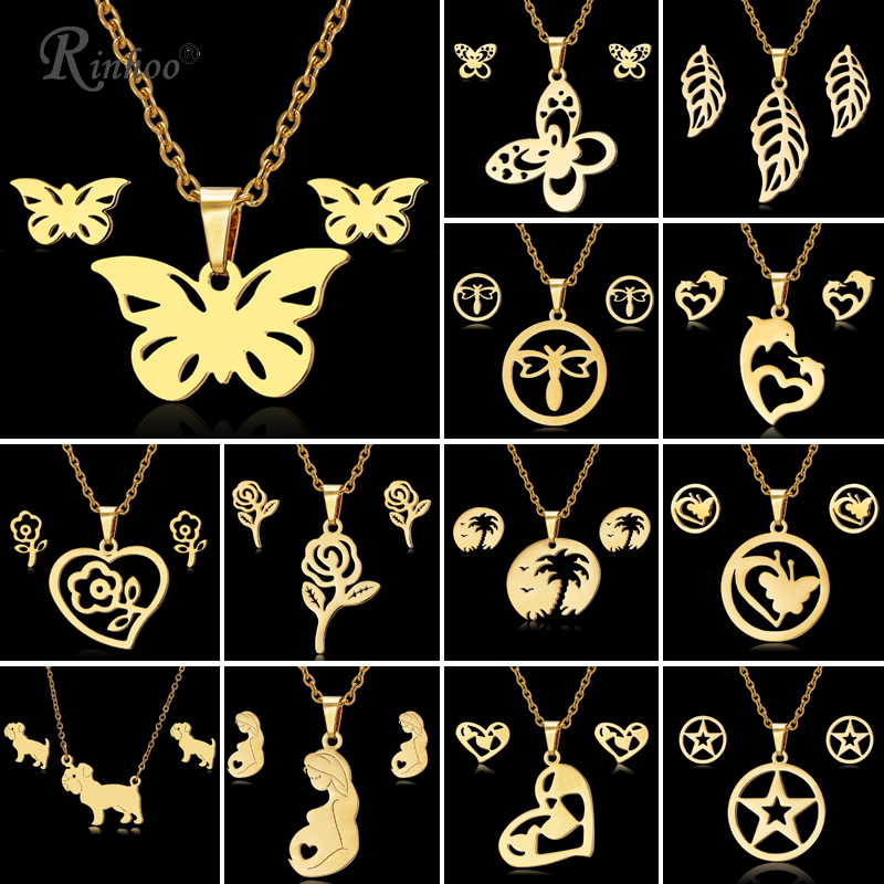 RINHOO Butterfly Rose Flower Heart Leaf Gold Color Stainless Steel Sets For Women Necklace Earrings Jewelry Set Wedding