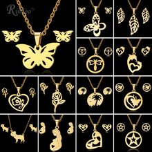 RINHOO Butterfly Rose Flower Heart Leaf Gold Color Stainless Steel Sets For Women Necklace Earrings Jewelry Set Wedding Jewelry gold color stainless steel jewelry sets romantic wedding earrings necklaces for women crystal and opal jewelry