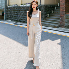 2 Piece Pants Sets Women Summer Casual Top And Beige Spaghetti Strap Square Collar Tops Wide-legged Long Suit