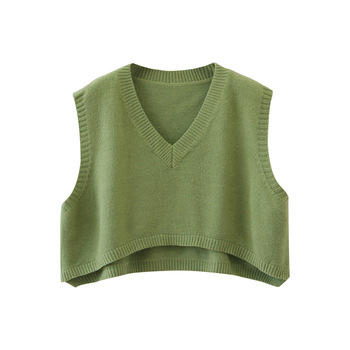 V Neck Cropped Sweater Vest Women Short Sleeveless Sweaters Fall 2